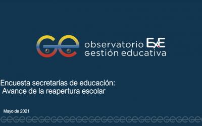 Encuesta secretarías de educación: Avance de la reapertura escolar